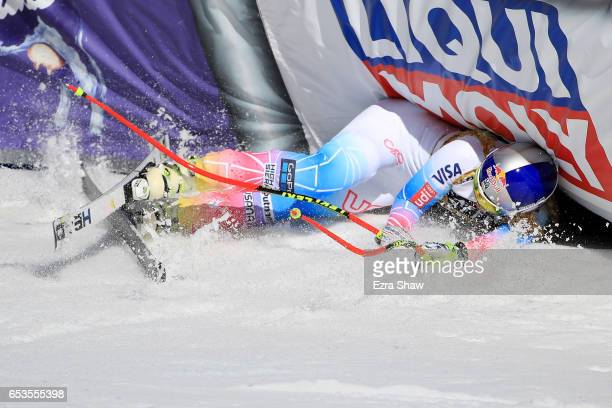 Lindsey Vonn of the United States crashes into an airfence after a run in the Ladies' Downhill for the 2017 Audi FIS Ski World Cup Final at Aspen...