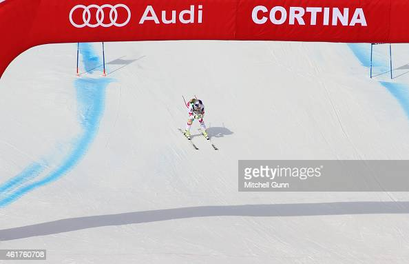 Lindsey Vonn of the United States crosses the finish line during the FIS Alpine Ski World Cup Women's Super G on January 19 2015 in Cortina d'Ampezzo...