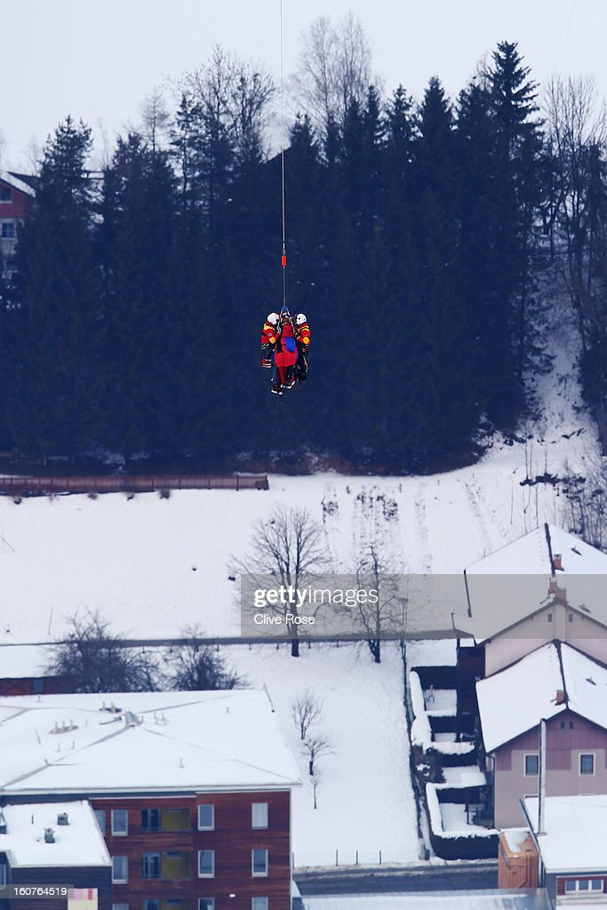 lindsey vonn of the United States of America is airlifted off the mountain after crashing while competing in the Women's Super G event during the Alpine FIS Ski World Championships on February 5, 2013 in Schladming, Austria.
