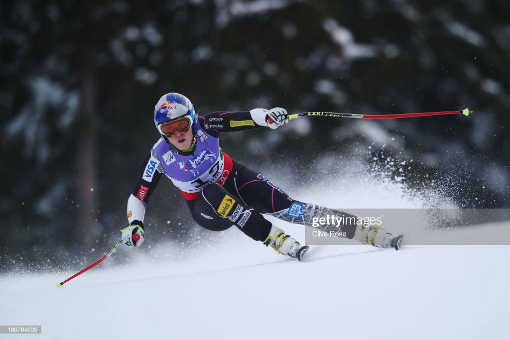 lindsey vonn of the United States of America skis before crashing while competing in the Women's Super G event during the Alpine FIS Ski World Championships on February 5, 2013 in Schladming, Austria.