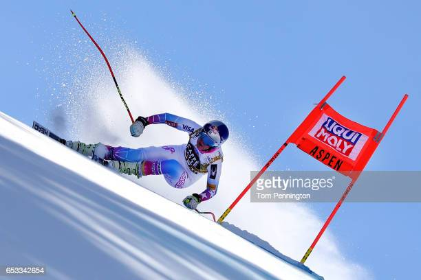 Lindsey Vonn of the United States skis during a training run for the ladies' downhill at the Audi FIS Ski World Cup Finals at Aspen Mountain on March...