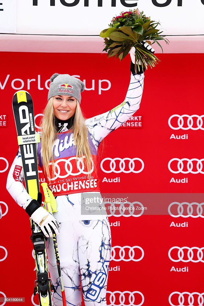 <a gi-track='captionPersonalityLinkClicked' href=/galleries/search?phrase=Lindsey+Vonn&family=editorial&specificpeople=4668171 ng-click='$event.stopPropagation()'>Lindsey Vonn</a> of the United States takes 1st place during the Audi FIS Alpine Ski World Cup Women's Downhill on January 09, 2016 in Altenmarkt-Zauchensee, Austria.