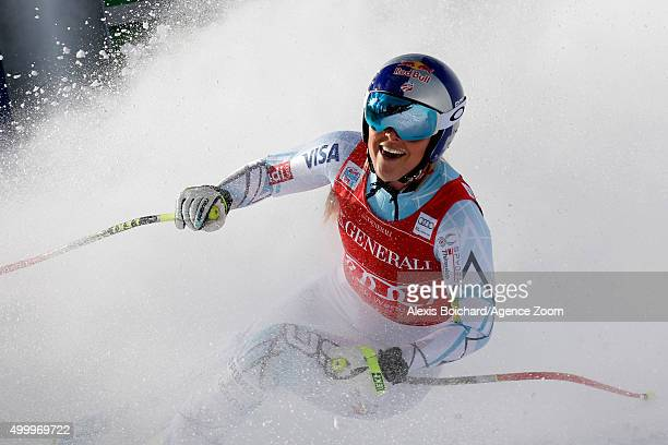 Lindsey Vonn of the United States takes the 1st place during the Audi FIS Alpine Ski World Cup Women's Downhill on December 04 2015 in Lake Louise...