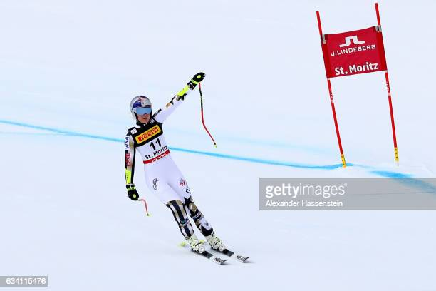 Lindsey Vonn of the United States waves as she skiis in to the finish during the Women's Super G during the FIS Alpine World Ski Championships on...