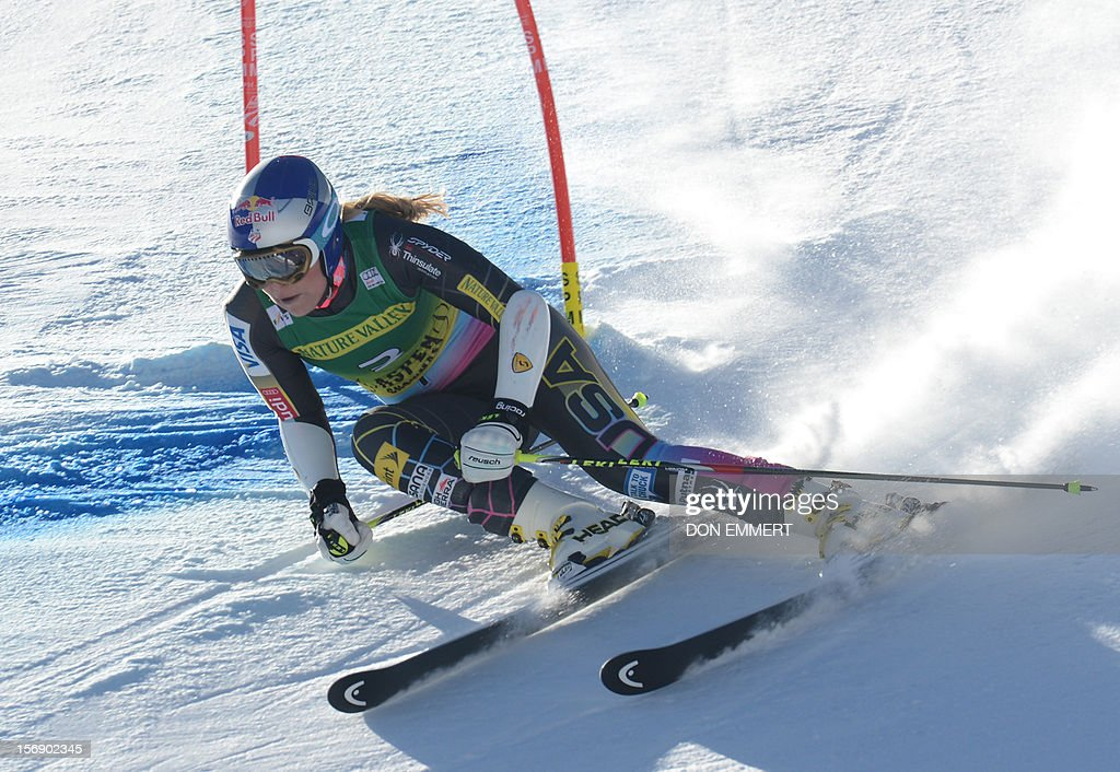 Lindsey Vonn of the US clears a gate during the first run of the women's World Cup giant slalom in Aspen on November 24, 2012. AFP PHOTO/Don EMMERT