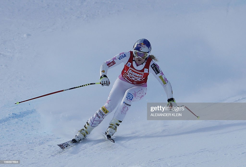 Lindsey Vonn of the US competes during the women's World Cup Super G, on January 13, 2013 in St Anton am Arlberg, Austria. Slovenia's Tina Maze won ahead of Austria's Anna Fenninger and Switzerland's Fabienne Suter.