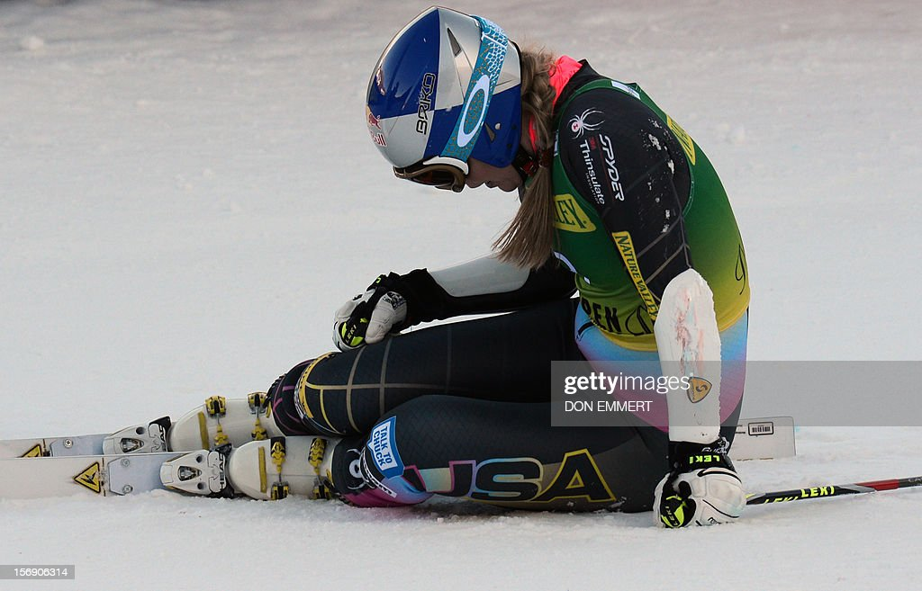 Lindsey Vonn of the US reacts after completing her second run of the women's World Cup giant slalom in Aspen on November 24, 2012. Vonn took 21st place. AFP PHOTO/Don EMMERT