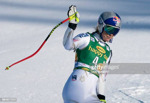 Lindsey Vonn of the US waves to the crowd as she exits the finish area during the FIS Ski World Cup Women's Super G on December 3 2017 in Lake Louise...