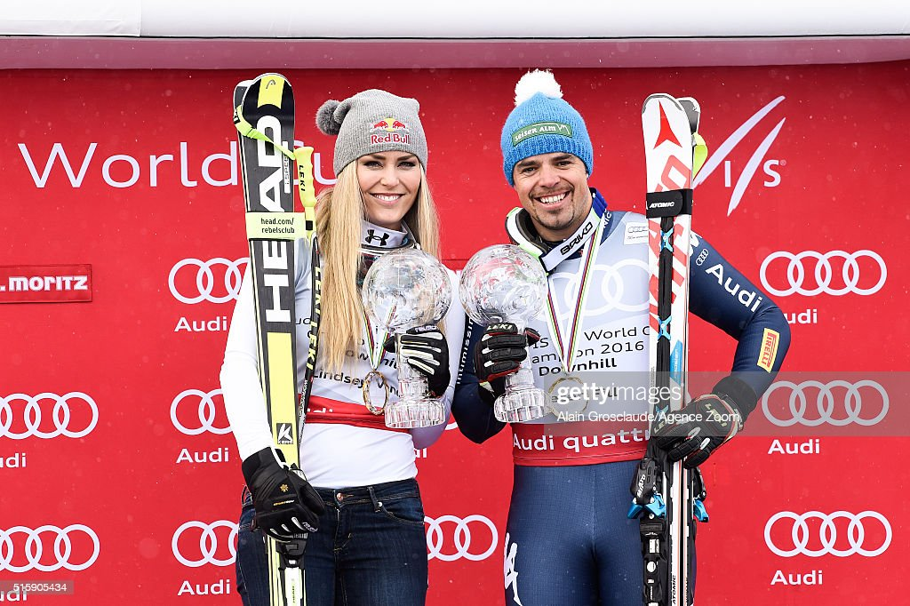 Lindsey Vonn of the USA and Peter Fill of Italy win the downhill crystal globes during the Audi FIS Alpine Ski World Cup Finals Men's and Women's Downhill on March 16, 2016 in St. Moritz, Switzerland.