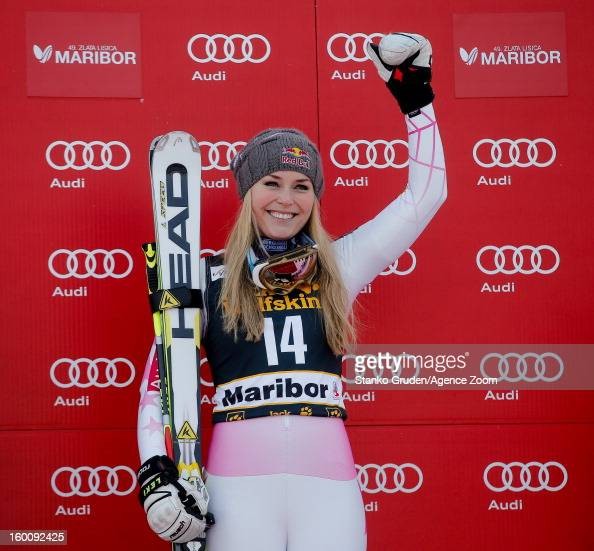 Lindsey Vonn of the USA celebrates after taking 1st place during the Audi FIS Alpine Ski World Cup Women's Giant Slalom on January 26 2013 in Maribor...
