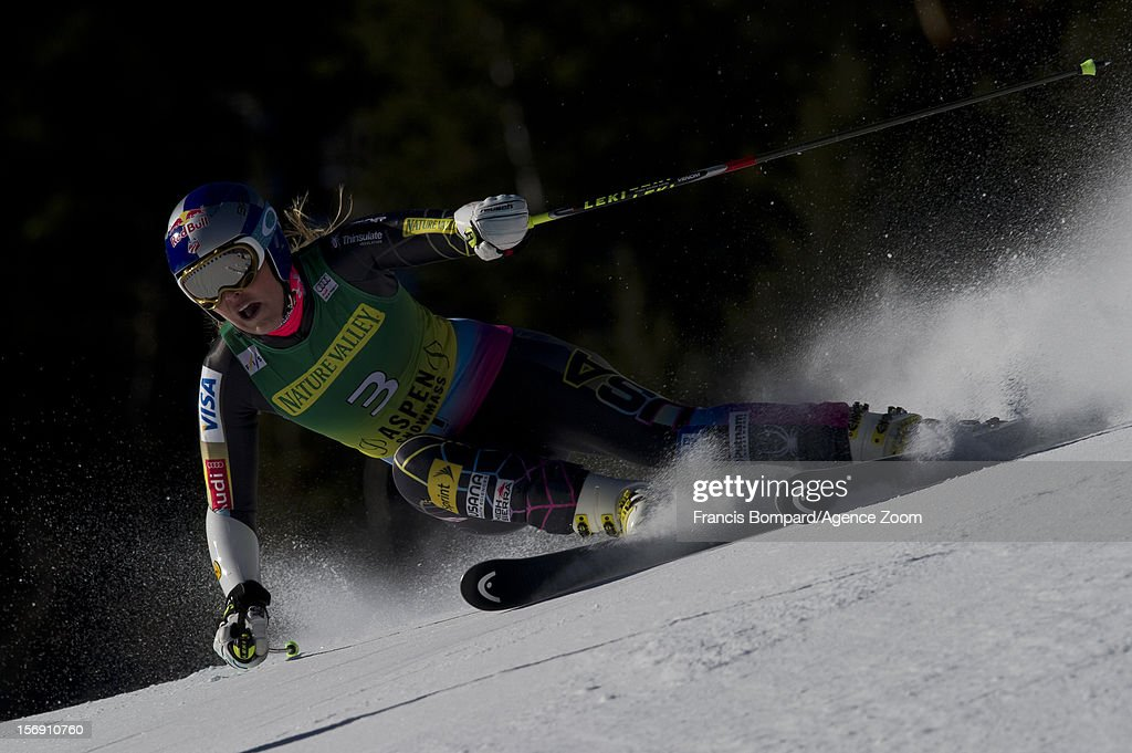 <a gi-track='captionPersonalityLinkClicked' href=/galleries/search?phrase=Lindsey+Vonn&family=editorial&specificpeople=4668171 ng-click='$event.stopPropagation()'>Lindsey Vonn</a> of the USA competes during the Audi FIS Alpine Ski World Cup Women's Giant Slalom on November 24, 2012 in Aspen, Colorado.