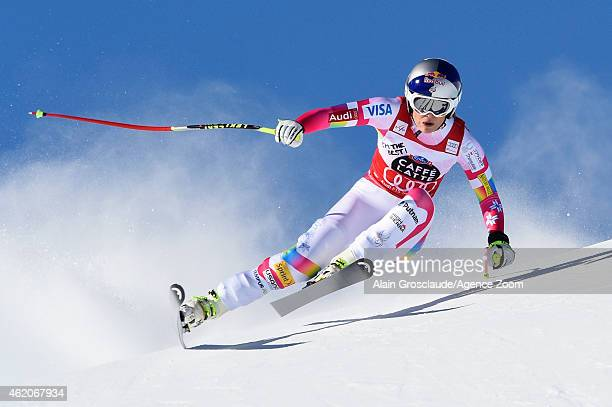 Lindsey Vonn of the USA competes during the Audi FIS Alpine Ski World Cup Women's Downhill on January 24 2015 in St Moritz Switzerland