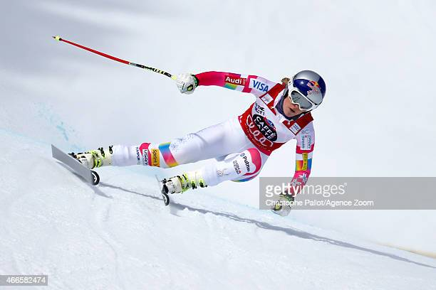 Lindsey Vonn of the USA competes during the Audi FIS Alpine Ski World Cup Finals Women's Downhill Training on March 17 2015 in Meribel France