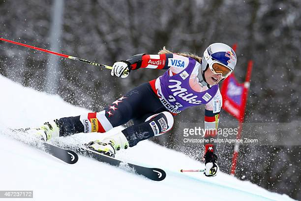Lindsey Vonn of the USA competes during the Audi FIS Alpine Ski World Cup Finals Women's Giant Slalom on March 22 2015 in Meribel France