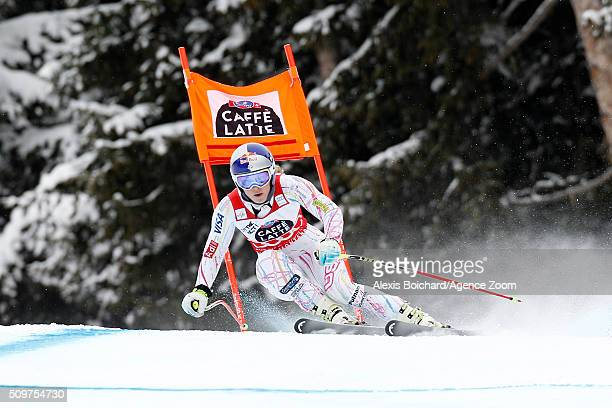 Lindsey Vonn of the USA competes during the Audi FIS Alpine Ski World Cup Women's Downhill Training on February 12 2016 in Crans Montana Switzerland