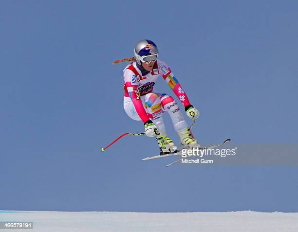 Lindsey Vonn of The USA competes during the FIS Alpine Ski World Cup Women's downhill training on March 17 2015 in Meribel France