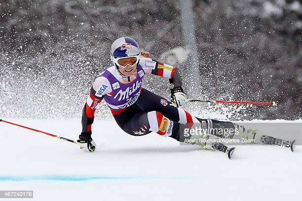 Lindsey Vonn of the USA during the Audi FIS Alpine Ski World Cup Finals Women's Giant Slalom on March 22 2015 in Meribel France