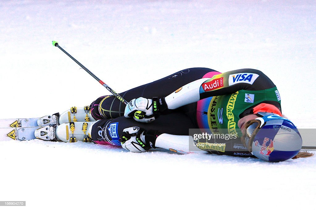 Lindsey Vonn of the USA falls to the snow in the finish area after her second run as she finished 21st in the women's giant slalom at the Nature Valley Aspen Winternational Audi FIS Ski World Cup at Aspen Mountain on November 24, 2012 in Aspen, Colorado.
