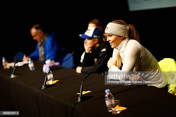 Lindsey Vonn of the USA in a press conference during the Audi FIS Alpine Ski World Cup Women's Downhill Training on December 18 2014 in Vald'Isere...