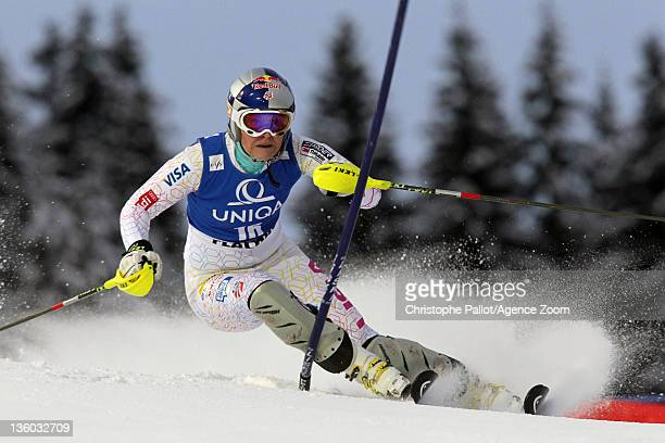 Lindsey Vonn of the USA in action during the Audi FIS Alpine Ski World Cup Women's Slalom on December 20 2011 in Flachau Austria