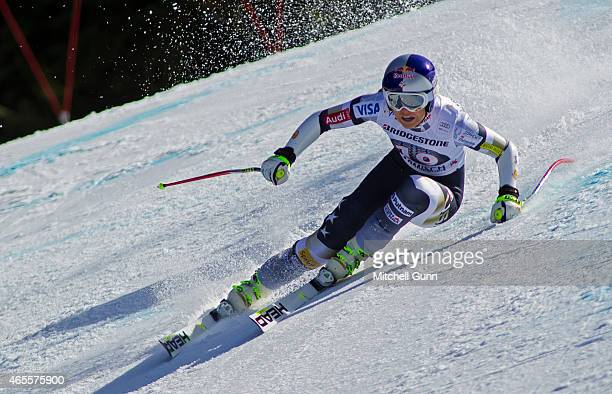 Lindsey Vonn of The USA races down the course while competing in the Audi FIS Alpine Ski World Cup Women's SuperG race on March 08 2015 in...