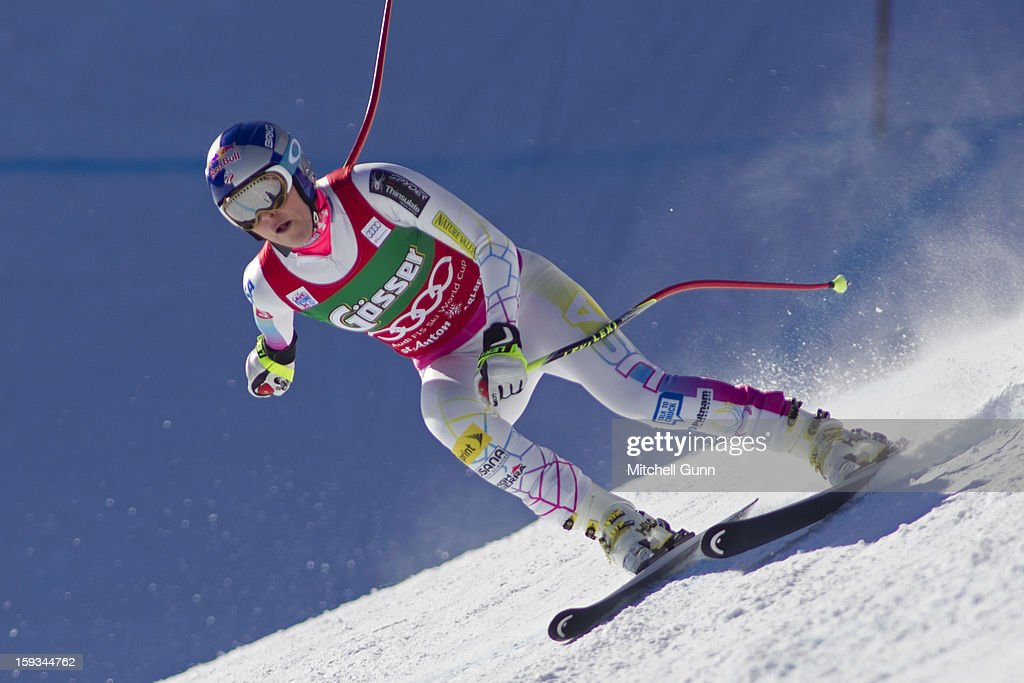 <a gi-track='captionPersonalityLinkClicked' href=/galleries/search?phrase=Lindsey+Vonn&family=editorial&specificpeople=4668171 ng-click='$event.stopPropagation()'>Lindsey Vonn</a> of the USA races down the Kandahar course whilst competing in the Audi FIS Alpine Ski World Cup downhill race on January 12, 2013 in St Anton, Austria.