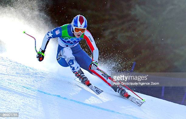 Lindsey Vonn of the USA skis and wins the bronze medal during the Women's Alpine Skiing SuperG on Day 9 of the 2010 Vancouver Winter Olympic Games on...
