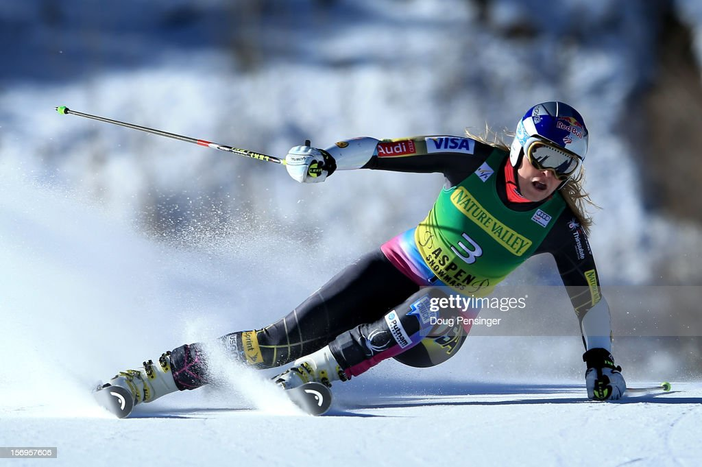 <a gi-track='captionPersonalityLinkClicked' href=/galleries/search?phrase=Lindsey+Vonn&family=editorial&specificpeople=4668171 ng-click='$event.stopPropagation()'>Lindsey Vonn</a> of the USA skis the first run en route to a 21st place finish in the women's giant slalom at the Nature Valley Aspen Winternational Audi FIS Ski World Cup at Aspen Mountain on November 24, 2012 in Aspen, Colorado.