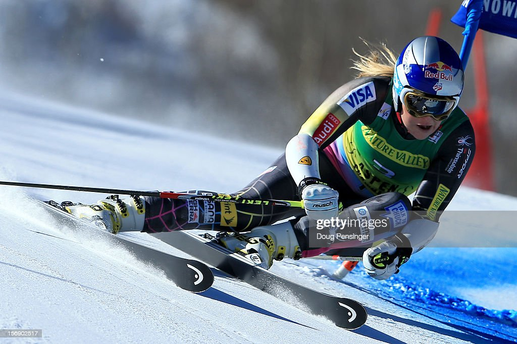 <a gi-track='captionPersonalityLinkClicked' href=/galleries/search?phrase=Lindsey+Vonn&family=editorial&specificpeople=4668171 ng-click='$event.stopPropagation()'>Lindsey Vonn</a> of the USA skis the first run of the women's giant slalom at the Nature Valley Aspen Winternational Audi FIS Ski World Cup at Aspen Mountain on November 24, 2012 in Aspen, Colorado.