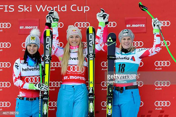 Lindsey Vonn of the USA takes 1st place Anna Fenninger of Austria takes 2nd place Nicole Hosp of Austria takes 3rd place during the Audi FIS Alpine...