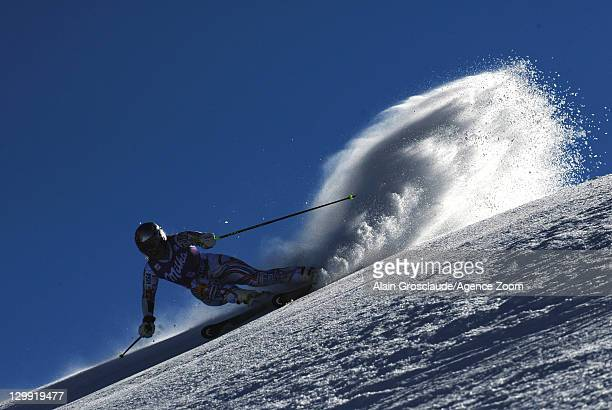 Lindsey Vonn of the USA takes 1st place during the Audi FIS Alpine Ski World Cup Women's Giant Slalom on October 22 2011 in Soelden Austria