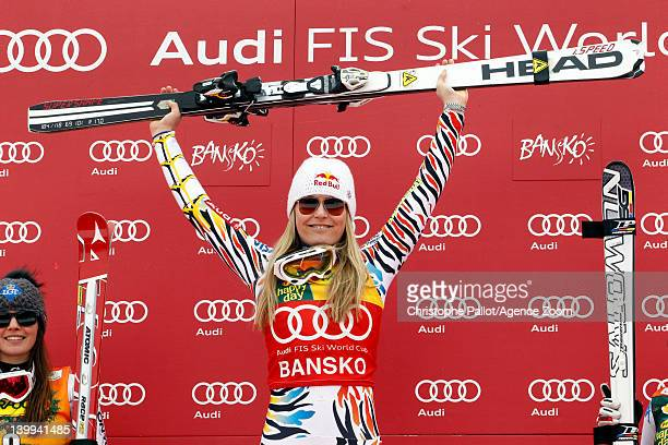 Lindsey Vonn of the USA takes 1st place during the Audi FIS Alpine Ski World Cup Women's SuperG on February 26 2012 in Bansko Bulgaria