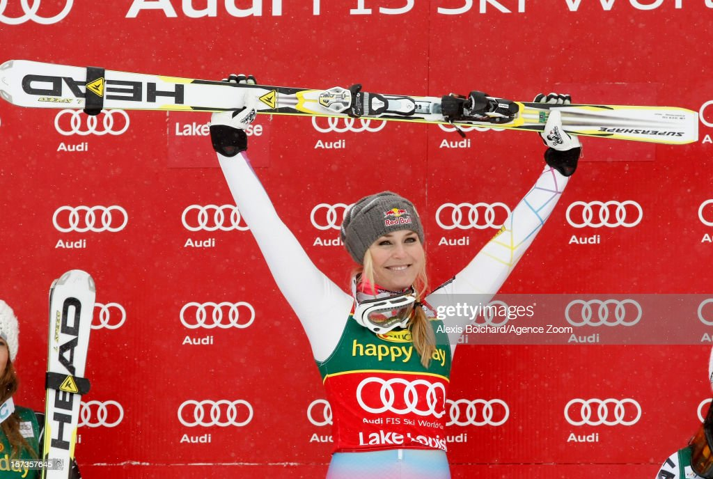 Lindsey Vonn of the USA takes 1st place during the Audi FIS Alpine Ski World Cup Women's SuperG on December 2 2012 in Lake Louise Canada