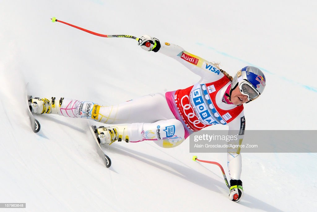 Lindsey Vonn of the USA takes 1st place during the Audi FIS Alpine Ski World Cup Women's SuperG on December 08 2012 in St Moritz Switzerland