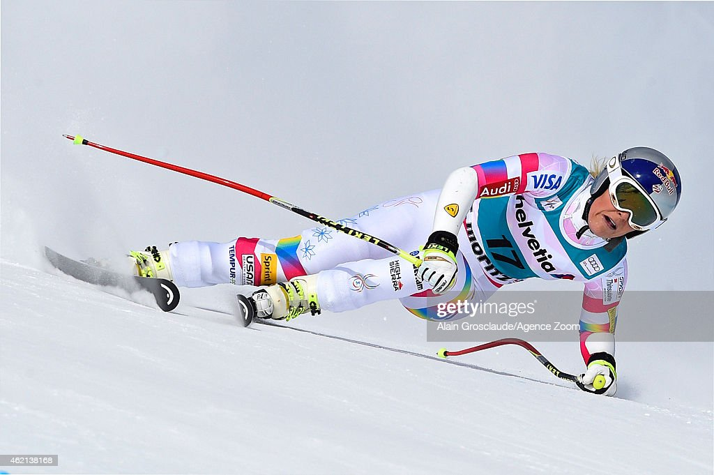 Lindsey Vonn of the USA takes 1st place during the Audi FIS Alpine Ski World Cup Women's SuperG on January 25 2015 in St Moritz Switzerland