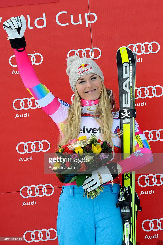 <a gi-track='captionPersonalityLinkClicked' href=/galleries/search?phrase=Lindsey+Vonn&family=editorial&specificpeople=4668171 ng-click='$event.stopPropagation()'>Lindsey Vonn</a> of the USA takes 1st place during the Audi FIS Alpine Ski World Cup Women's Super-G on January 25, 2015 in St. Moritz, Switzerland.