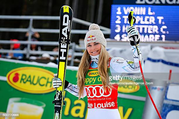 Lindsey Vonn of the USA takes 1st place during the Audi FIS Alpine Ski World Cup Women's Super G on December 06 2015 in Lake Louise Alberta Canada