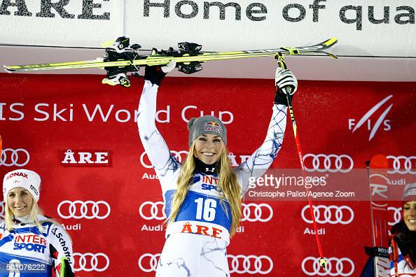 Lindsey Vonn of the USA takes 1st place during the Audi FIS Alpine Ski World Cup Women's Giant Slalom on December 12 2015 in Are Sweden