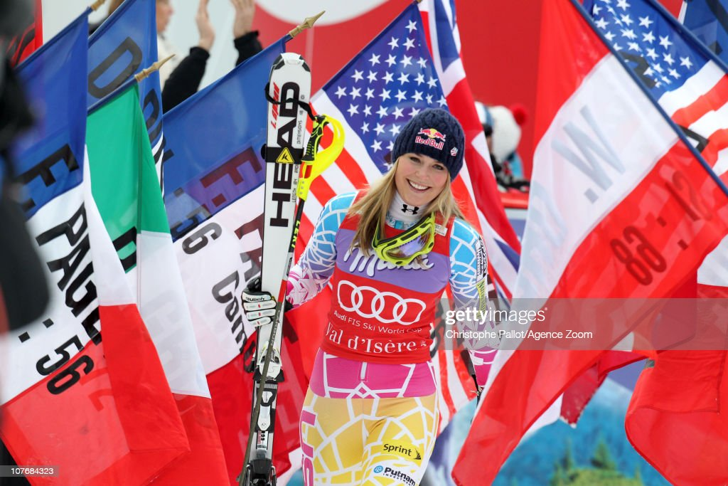 Lindsey Vonn of the USA takes 1st place during the Audi FIS World Cup Alpine women's supercombined slalom race on December 19 2010 in Val d'Isere...