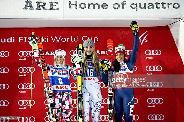 Lindsey Vonn of the USA takes 1st place EvaMaria Brem of Austria takes 2nd place Federica Brignone of Italy takes 3rd place during the Audi FIS...