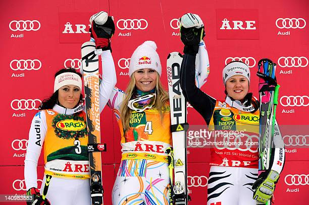 Lindsey Vonn of the USA takes 1st place Federica Brignone of Italy takes 2nd place and Viktoria Rebensburg of Germany takes 3rd place during the Audi...
