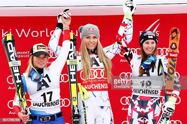 Lindsey Vonn of the USA takes 1st place Lara Gut of Switzerland takes 2nd place and Cornelia Huetter of Austria takes 3rd place during the Audi FIS...