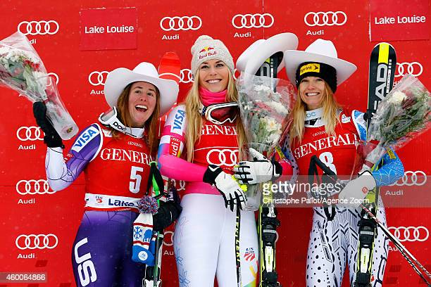 Lindsey Vonn of the USA takes 1st place Stacey Cook of the USA takes 2nd place and Julia Mancuso of the USA takes 3rd place during the Audi FIS...