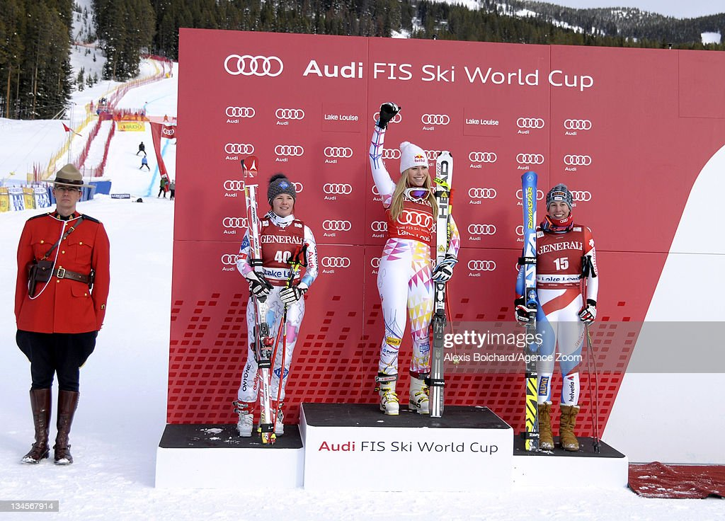 <a gi-track='captionPersonalityLinkClicked' href=/galleries/search?phrase=Lindsey+Vonn&family=editorial&specificpeople=4668171 ng-click='$event.stopPropagation()'>Lindsey Vonn</a> of the USA (C) takes 1st place, <a gi-track='captionPersonalityLinkClicked' href=/galleries/search?phrase=Tina+Weirather&family=editorial&specificpeople=813974 ng-click='$event.stopPropagation()'>Tina Weirather</a> of Liechtenstein (L) takes 2nd place and <a gi-track='captionPersonalityLinkClicked' href=/galleries/search?phrase=Dominique+Gisin&family=editorial&specificpeople=4083154 ng-click='$event.stopPropagation()'>Dominique Gisin</a> of Switzerland (R) takes 3rd place during the Audi FIS Alpine Ski World Cup Women's Downhill on December 2, 2011 in Lake Louise, Canada.