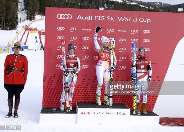 Lindsey Vonn of the USA takes 1st place Tina Weirather of Liechtenstein takes 2nd place and Dominique Gisin of Switzerland takes 3rd place during the...