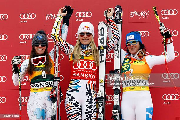 Lindsey Vonn of the USA takes 1st place Tina Weirather of Liechtenstein takes 2nd place Daniela Merighetti of Italy takes 3rd place during the Audi...