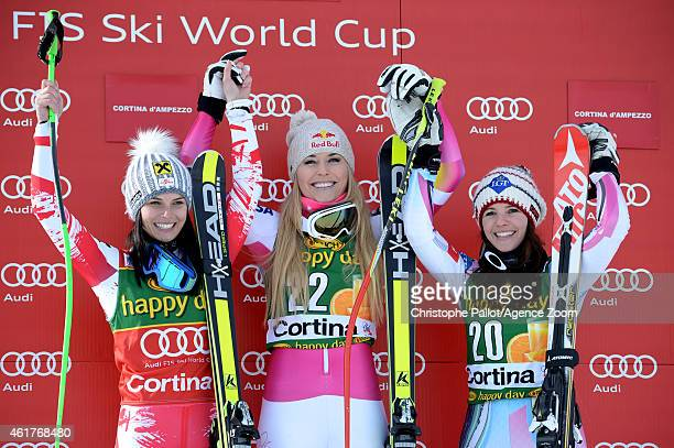 Lindsey Vonn of the USA takes 1st placeAnna Fenninger of Austria take 2nd place Tina Weirather of Liechtenstein during the Audi FIS Alpine Ski World...