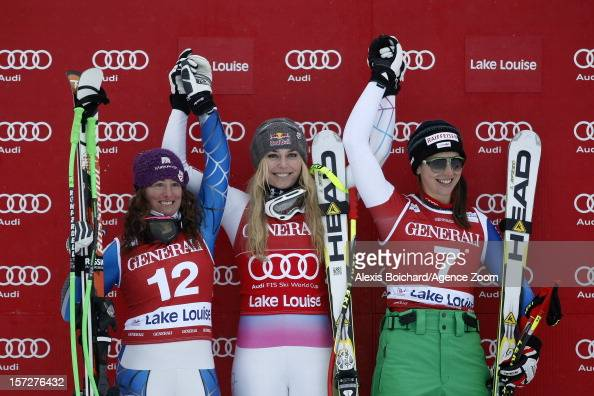 Lindsey Vonn of the USA takes 1st placeStacey Cook of the USA takes 2nd placeMarianne KaufmannAbderhalden of Switzerland takes 3rd place during the...
