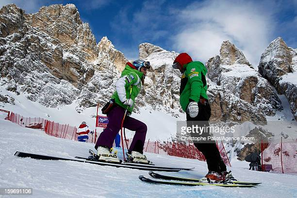 Lindsey Vonn of the USA takes 3rd place during the Audi FIS Alpine Ski World Cup Women's Downhill training on January 18 2013 in Cortina d'Ampezzo...