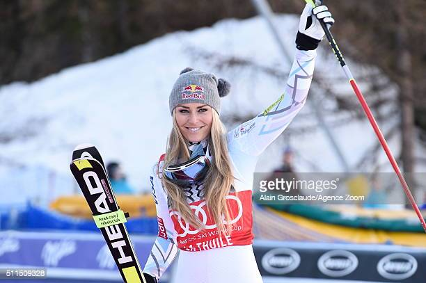 Lindsey Vonn of the USA takes 3rd place during the Audi FIS Alpine Ski World Cup Women's SuperG on February 21 2016 in La Thuile Italy
